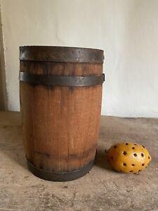 Sweet Early Antique Handmade Small Wooden Barrel Keg Rundlet Patina AAFA Staved