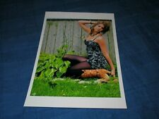 CUTE DIRTY BLONDE MODEL KNEELING IN GRASS-COWBOY BOOTS-BLACK PANTYHOSE PHOTO