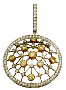 18K Gold Diamond Necklace with (4.75 TCW White) (4.7 TCW Canary) on a 14K Chain