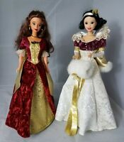LOT of 2 DISNEY HOLIDAY PRINCESS BELLE SNOW WHITE SPECIAL EDITION Collector VTG