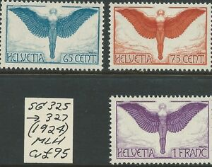 SWITZERLAND - 1924 AIR MAIL Set to 1 Fr 'VIOLET   SG 325/327  MLH Cv £95 [8648]*