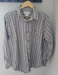 Filson Tracker Button Down Shirt Large Cream Plaid Cotton Twill Workwear Outdoor