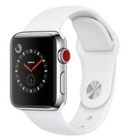 Apple Watch Series 3 42mm - Silver - White Sport Band GPS + Cellular MINT 10/10