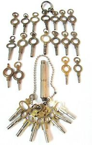 COLLECTION OF VARIOUS VINTAGE AND ANTIQUE POCKET WATCH KEYS WINDERS + TOOL (26)