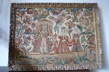 ANCIEN TABLEAU CADRE BRODERIE HAUTE EPOQUE TAPISSERIE ANTIQUE TAPESTRY XVII XVI