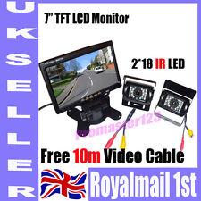 "2x IR REVERSING CAMERA +7"" LCD MONITOR CAR REAR VIEW KIT + 2x 10m video cables"