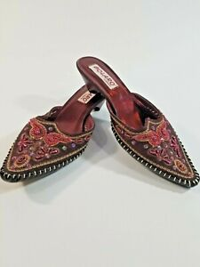 BOLARO by Summer Rio Women's Embroidered Embellished Mule Shoes Pointed Toe 6.5