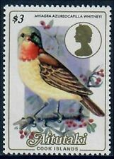 Aitutaki #338 Bird/Chestnut-Throated Flycatcher on Definitive Single MNH