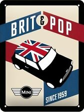 Metal Embossed Sign -  MINI COOPER BRIT POP - Since 1959 - BLECHSCHILD