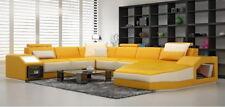 Ledersofa Ecksofa Big Sofa Sofa Couch Polster Eck Wohnlandschaft mit Licht  Neu