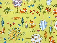 Free Spirit Fox Playground Woodland Animals Yellow Fabric