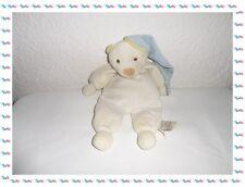 T - Doudou  Blanc Ours avec son Bonnet Bleu Doudou et Compagnie
