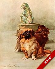 THE INTELLIGENT & GOOD NATURED PEKINESE PET DOG ART PAINTING REAL CANVAS PRINT