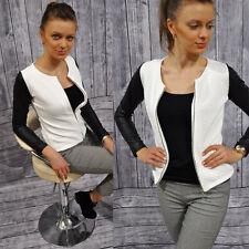 Women's Slim Leather Sleeve Coat Blazer Jacket Casual Suit Autumn Winter Outwear