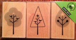 """Hero Arts """"3 Trees With Stars"""" Wood Mounted Rubber Stamps """" New*"""
