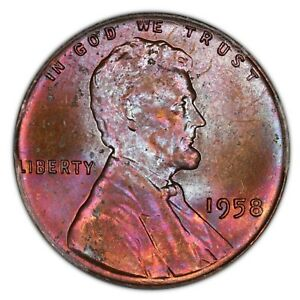 1958 Toned Lincoln Cent- ANACS MS 64 RB