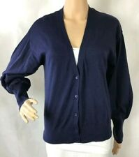 GAP VNeck Cardigan Sweater Size M Navy Blue Balloon Sleeves 100% Cotton