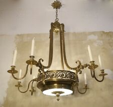 AMAZING VERY LARGE ART NOUVEAU LAMP CHANDELIER BRASS ANTIQUE GLASS HOTEL FOYER