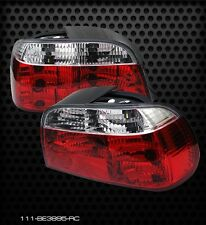 Pair Red Clear Crystal Tail Lights Lamps BMW E38 7 Series 95-01 One Yr warranty