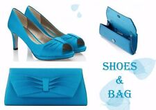 BNWT Jacques Vert UK 6 Shoes Clutch Bag Turquoise Blue Platform Peep Toes Heels