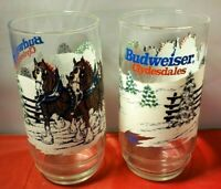 2 Vintage 1989 BUDWEISER Clydesdale Christmas Glasses 6'' ANHEUSER BUSCH