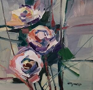JOSE TRUJILLO Oil Painting IMPRESSIONISM 12X12 FLOWERS FLORAL COLLECTIBLE MODERN