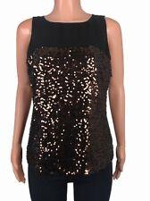 Michael Kors Women's Black Tank Top Sequin Shell Tabasco Brown, Sz. 8 NEW