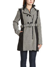 Size S White & Black Houndstooth Trench Coat NWT
