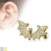 CZ Bat Wings Top Ear Cartilage Daith Tragus Helix Earrings Barbell Studs Rings
