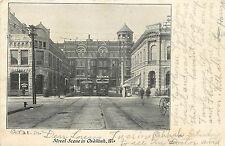 C1906 Postcard; Street Scene in Oshkosh WI w/ Trolleys, Winnebago County Posted