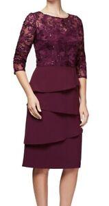 Alex Evenings Plum Sequinned Sheath Dress, Size 14 Petite