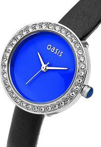 BRAND NEW IN BOX OASIS BLUE FACE DIAMANTE LADIES QUARTZ WRISTWATCH + NEW BATTERY