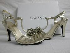 Calvin Klein Size 8.5 M Rajah Leather Metallic Open Toe Heels New Womens Shoes