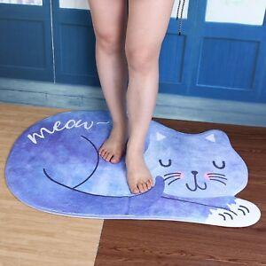Cat Blue Mat Bathroom Rug Sleeping Washable Kitchen Doormat