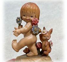 Vtg Anri Music Box Musical Handcarved Ferrandiz Nude Nature Girl and Bunny Cute