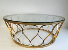 CORSICA Coffee Table 1000 (Dia)  In Powder Coated Metal & Glass  - Gold