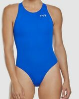 $195 TYR Womens Blue Breakaway High-Neck Zip-Back One-Piece Athletic Swimsuit 32
