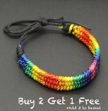 Gay Pride LGBT Rainbow Unisex Bracelet  Jewellery Lesbian Bisexual Trans Rope