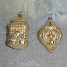 New Listing2 Vintage Glass Christmas Ornaments House & Heart Cameo - Lady / Rose - Germany