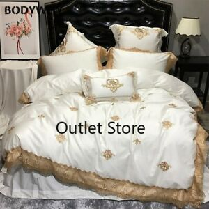 Embroidery Luxury Royal Bedding Set Egypian Cotton Lace Bed Set Sheet Duvet Set