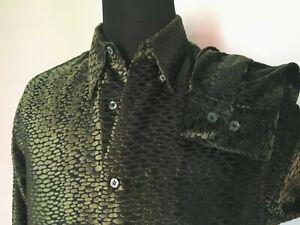 SHIRT Green Black Devore Velvet Long sleeve Button down Sz M Party Retro Rave