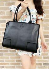 Tory Burch Ella Leather Canvas Tote Handbag Black 40076 0417
