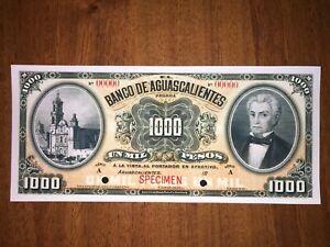 Mexico (B. de Aguascalientes) 1000 Pesos 1910  RARE (Copy)