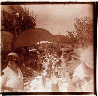 Repas Fête Déjeuner Plein Air ca 1930, Photo Stereo Vintage Plaque Verre VR5L8