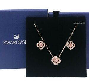 SWAROVSKI Rose Gold Sparkling D Pink Clover Necklace Earrings Gift set 5516488