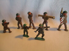 7 Early Metal Toy Soldiers, 1 with American Flag, Circa. 1950's