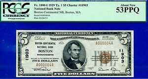 TOP POP - 1929 $5 National (( Finest Known - Boston, MA # 000004 )) PCGS 53PPQ-