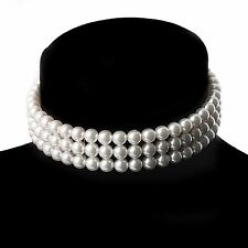 3 Row Ivory colour Pearl Necklace/ choker with Lobster calsp, For every size