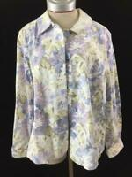 Croft & Barrow blazer size L large long sleeve 2 pockets purple floral green