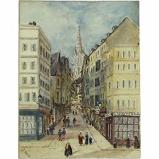 St Vincent Grand Rue St Malo Brittany Traditional Landscape Watercolour Painting